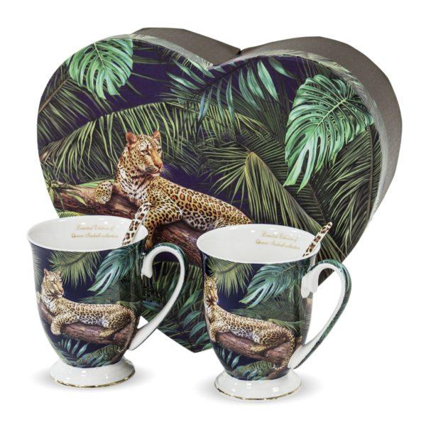 """Puodelių su šaukšteliais rinkinys """"Leopardas"""""""