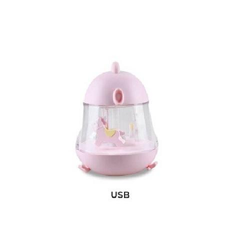 Muzikinė lempa su karusele rožinės spalvos
